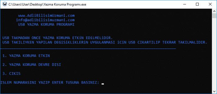 USB Yazma Koruma Programı