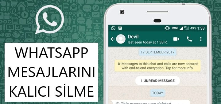 Whatsapp Mesajlarını Kalıcı Silme